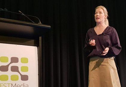 Kristen Lunman Hatch speaking at FST media event